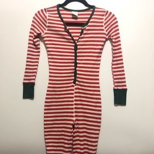 Red and White Striped Thermal One Piece Kids Sz 12